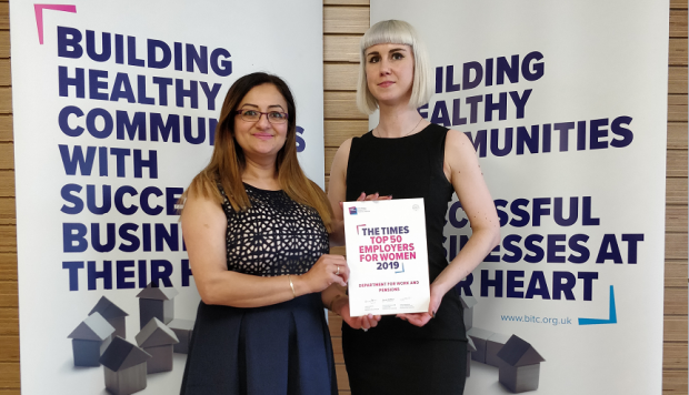 Ozma, DWP gender lead and Steph, DWP gender policy holding the shortlisting certificate