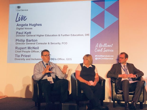 Angela taking part in the panel discussion at Civil Service Live with two other male members of the panel, Paul Kett and Philip Barton