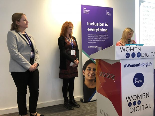 Three women from the digital voices programme presenting