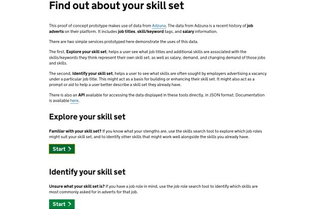 Homepage of the Find about your skill set service which invites users to explore or identify their skill set