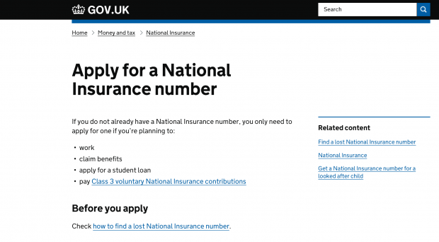Screen grab of the GOV.UK website Apply for a NINO page