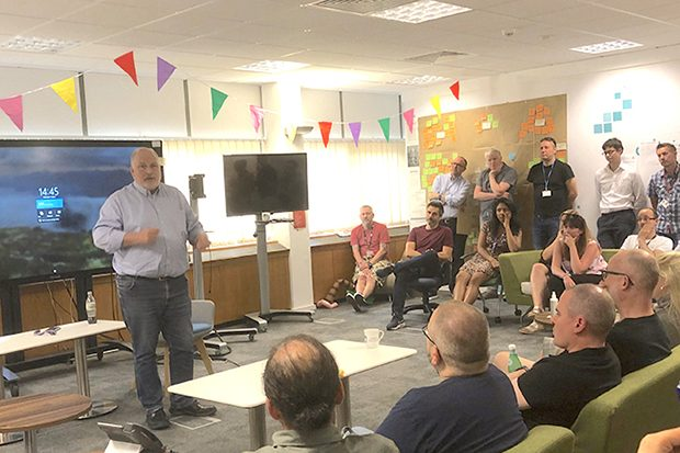 Simon McKinnon talks to teams at our Sheffield Hub