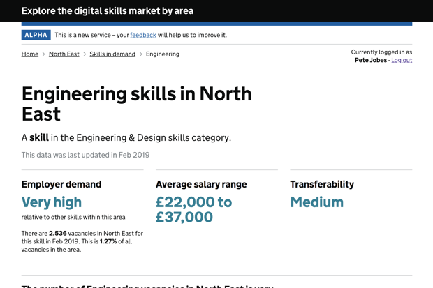 Screen shot from the Examine a Place prototype showing Engineering skills in the North East, listing employer demand (very high), average salary range (£22,000 - £37,000) and Transferability of these skills (medium).
