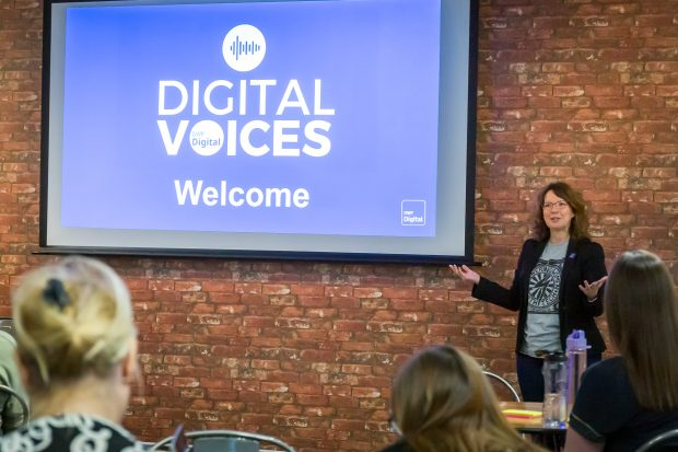 Joanne welcoming a group of Digital Voices