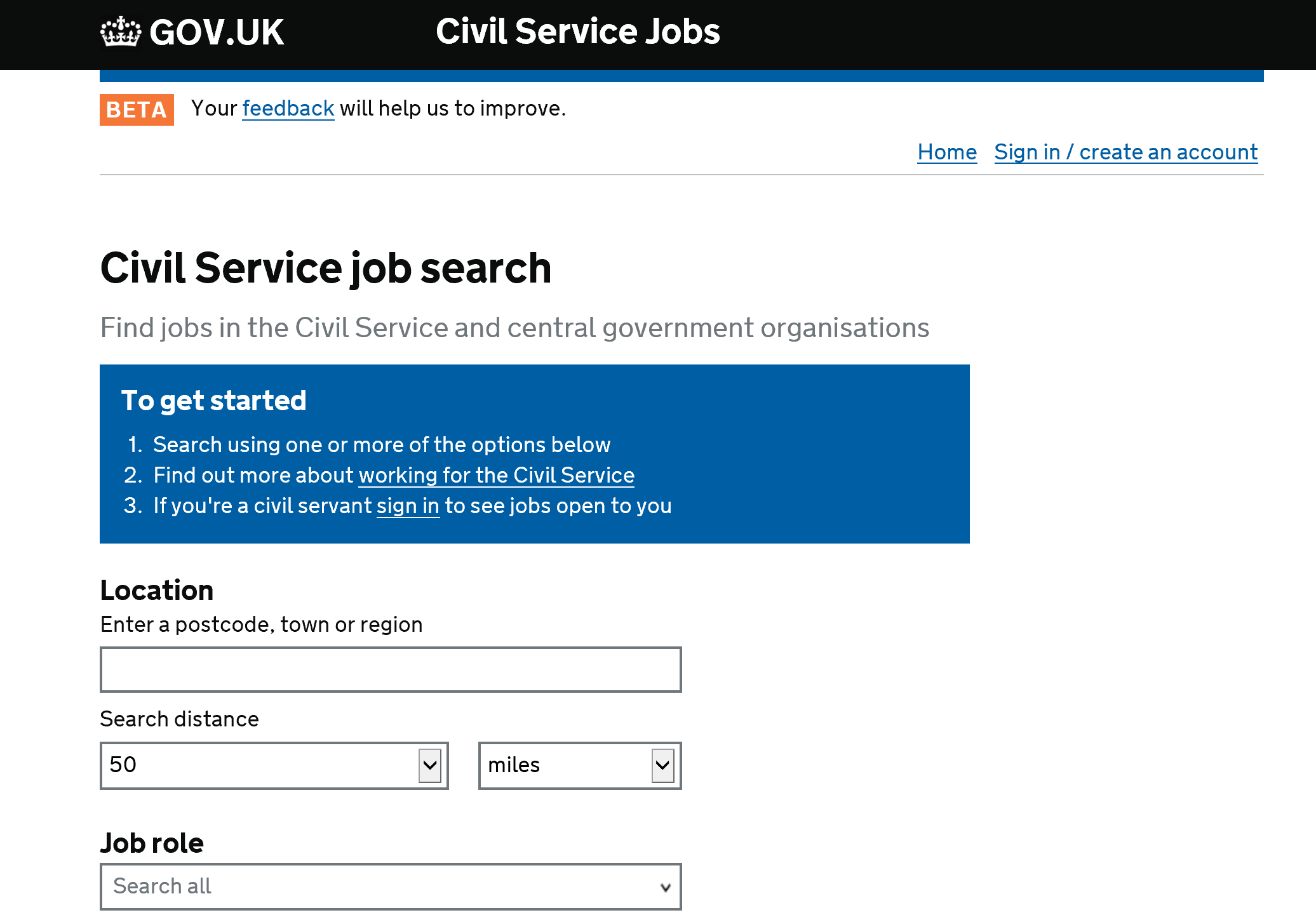 Image shows first page of the Civil Service Jobs website