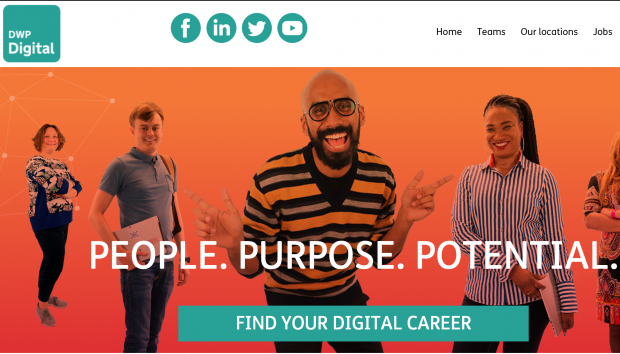 Image of the first page of the DWP Digital Careers website