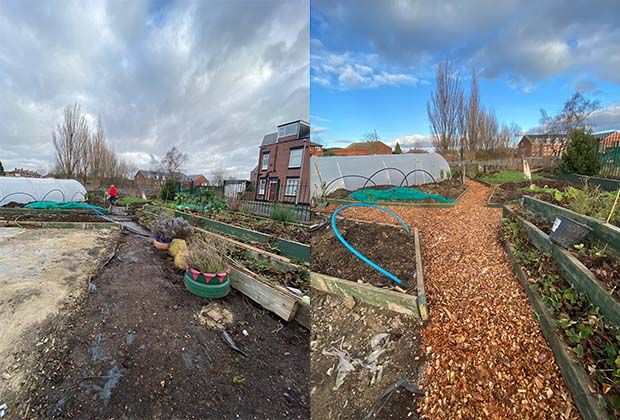 Before and after photo of the garden improvements