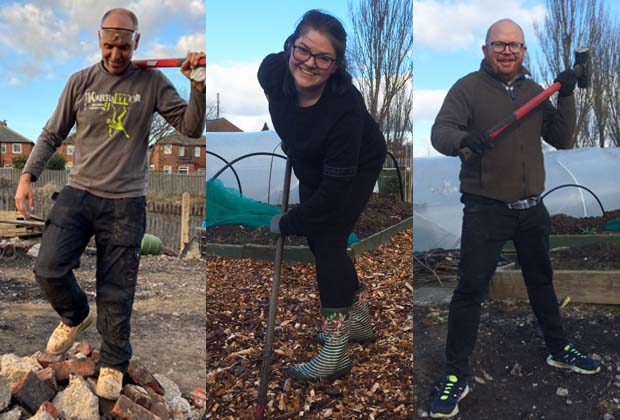 3 images showing individual volunteers at work in thr community garden