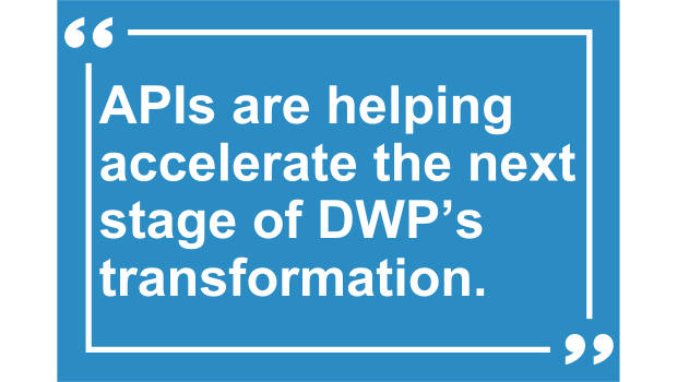 Text reads: APIs are helping accelerate the next stage of DWP's transformation