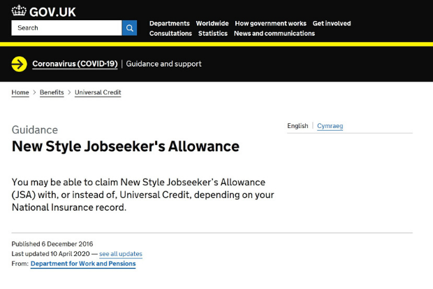 The New Style Jobseeker's Allowance website on GOV.UK, which allows people to claim New Style JSA