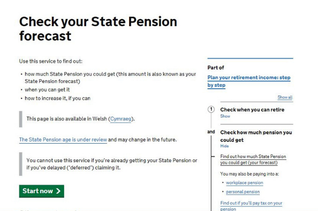 Screen grab of the Check your State Pension page on GOV.UK