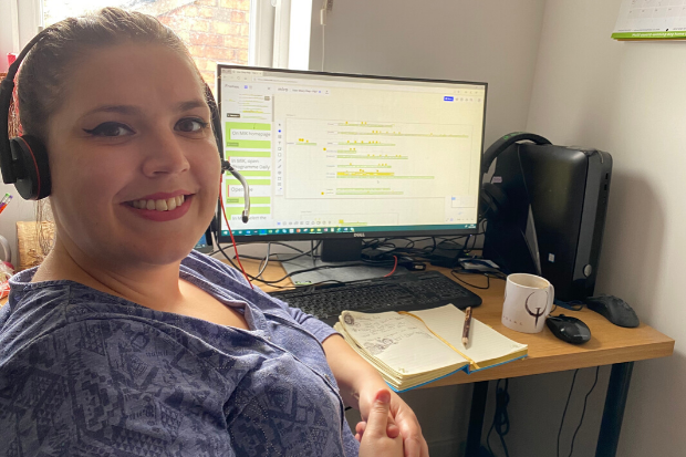 DWP Digital user researcher Sian Beavers working from home