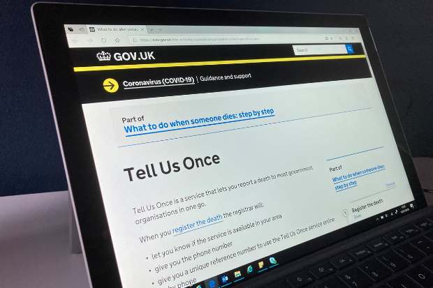 Tell Us Once information on the GOV.UK website