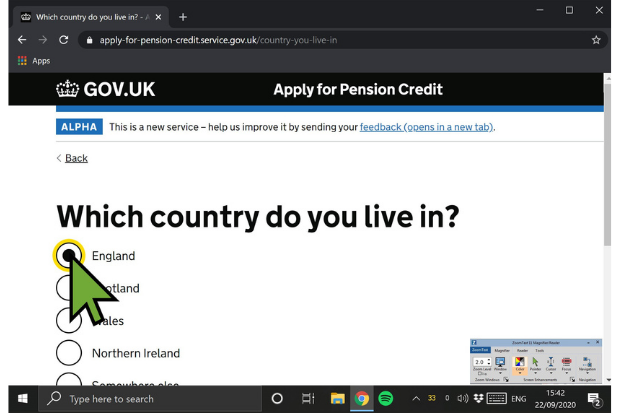 ZoomText software as seen on a GOV.UK website page titled 'Which country do you live in?'