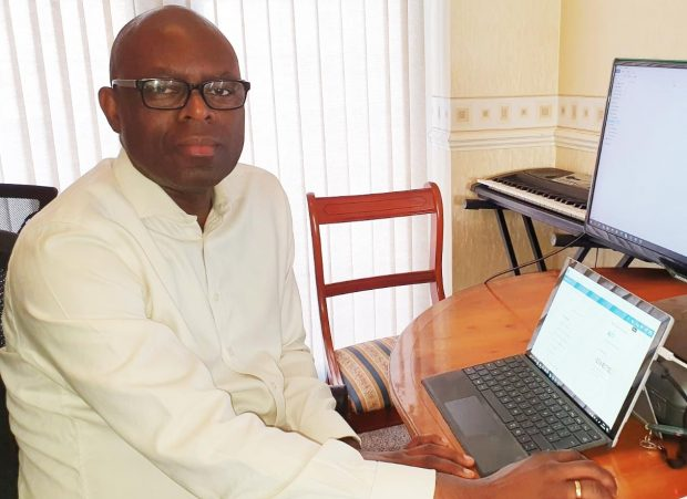 Olutade Bankole working from home