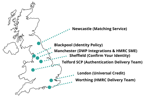 Map of the United Kingdom highlighting the areas where the teams working on the Confirm Your Identity service are based