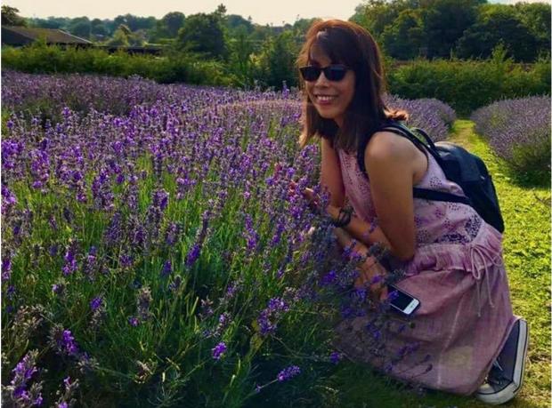 Rowena MacCallum outside in a lavender field