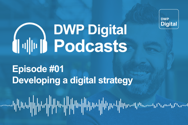Podcast infographic with headphones and soundwaves and title Episode #01 Developing a digital strategy