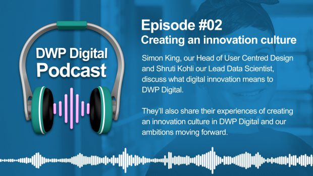 DWP Digital Podcast infographic of headphones with text excerpt: Episode 2, Creating and innovation culture. Simon King, our Head of User Centred Design and Shruti Kohli our Lead Data Scientist, discuss what digital innovation means to DWP Digital. They'll also share their experiences of creating an innovation culture in DWP Digital and our ambitions moving forward.