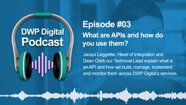 DWP Digital Podcast infographic of headphones with text excerpt: What are APIs and how do you use them? Jacqui Leggetter , Head of Integration and Dean Clark, our Technical Lead, explain what is an API and how we build, manage, implement and monitor them across DWP Digital's services.