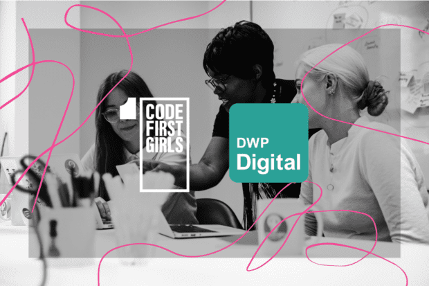 Image of women at a computer screen with CodeFirstGirls and DWP Digital logos
