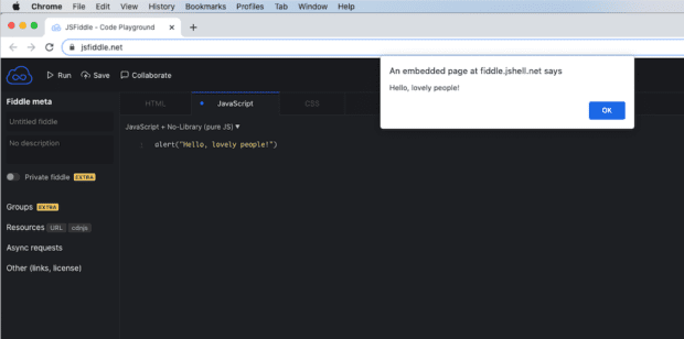 Screen shot of JavaScript in action using JSFiddle