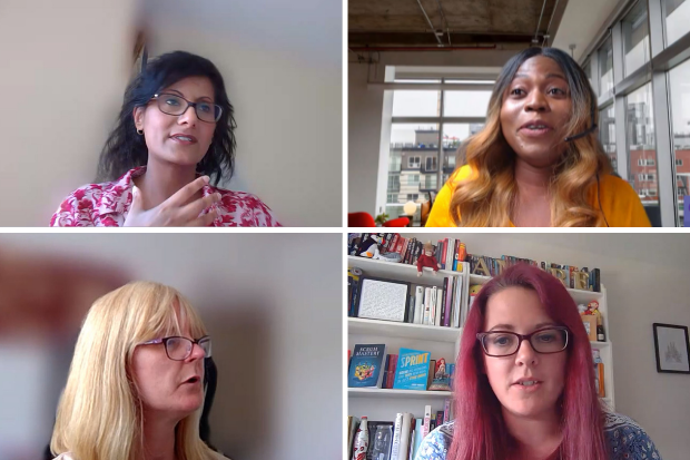 Four women are pictured speaking over a video call at the Digital Voices launch event